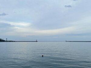 最近、早朝起きができないため、夕方散歩に行って来ました港の防波堤のみが見えるところまで……